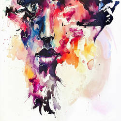 Beautiful mix color face abstract art print by Gallerist