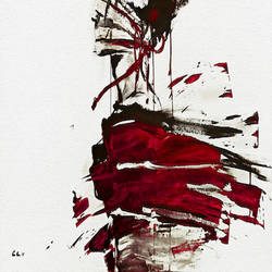 Beautiful red shade abstract art print by Gallerist