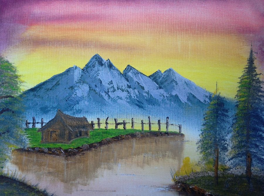 afternoon mountain, 20 x 16 inch, suresh kyatham ,landscape paintings,paintings for living room,canvas,oil paint,20x16inch,GAL04471883