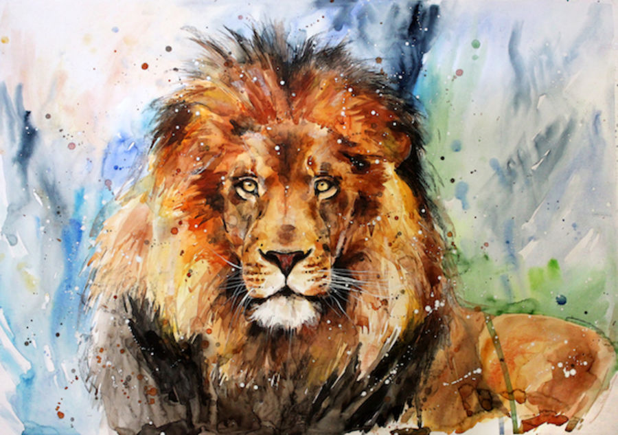 Brown lion abstract