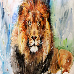 Brown lion abstract art print by Gallerist