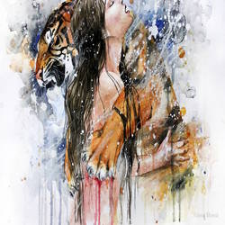 Love of tiger art print by Gallerist