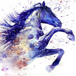 Blue shade horse art print by Gallerist