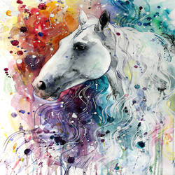 Glossy white horse art print by Gallerist