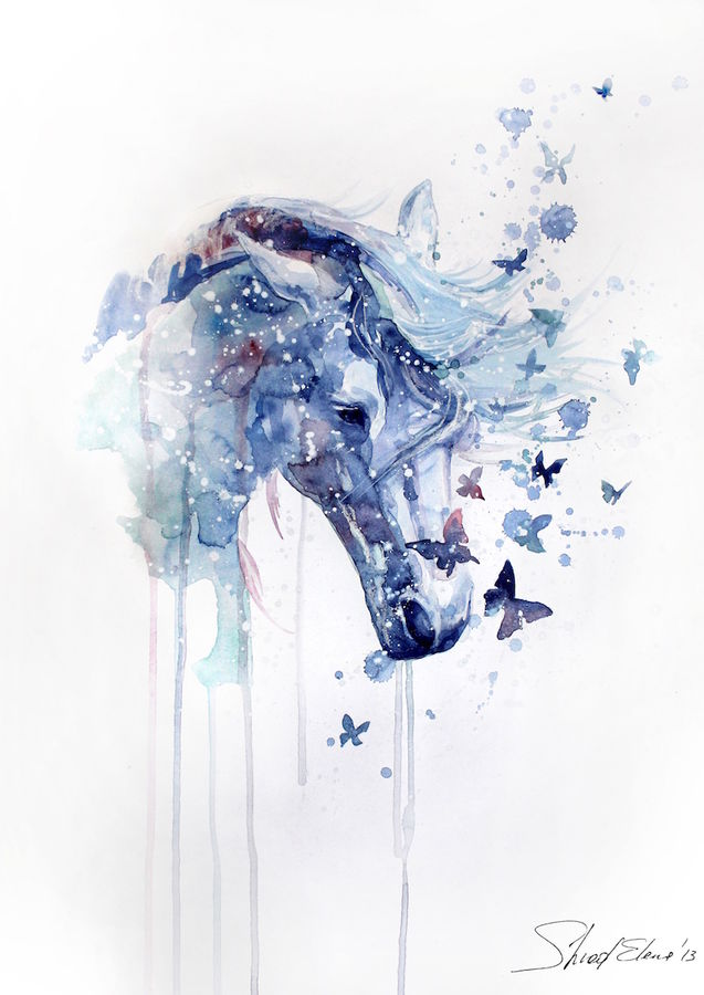Blue horse with blue butterfly