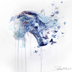 Blue horse with blue butterfly art print by Gallerist