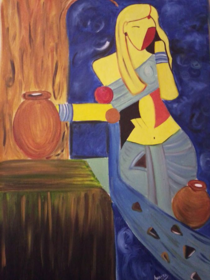 shakuntala devi, 18 x 26 inch, ankita mandal,abstract paintings,paintings for living room,canvas,oil,18x26inch,GAL07451885