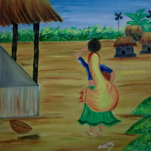 village woman, 15 x 19 inch, ankita mandal,nature paintings,paintings for living room,canvas,oil,15x19inch,GAL07451888Nature,environment,Beauty,scenery,greenery