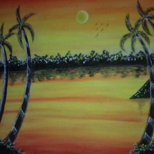 sunset view, 19 x 15 inch, ankita mandal,landscape paintings,paintings for living room,canvas,oil,19x15inch,GAL07451889