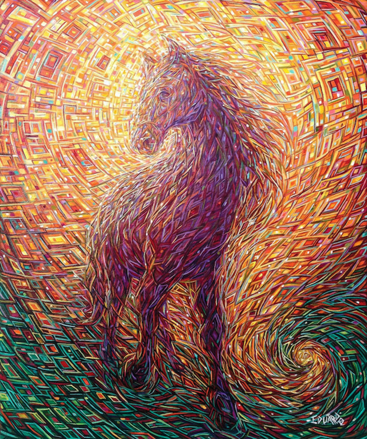 Red shaded horse