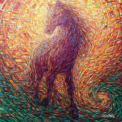 Red shaded horse art print by Gallerist
