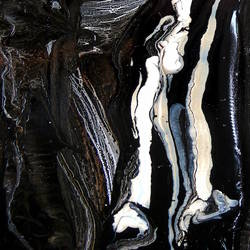 Glossy dark black abstract art print by Gallerist