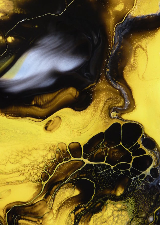Glossy yellow with dark black abstract
