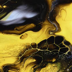 Glossy yellow with dark black abstract art print by Gallerist