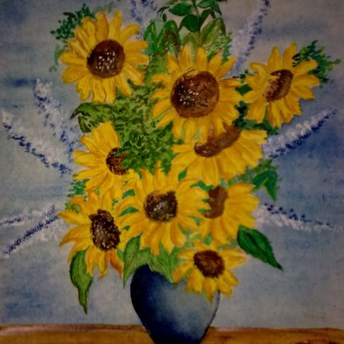 beauty of sunflowers, 15 x 19 inch, ankita mandal,nature paintings,paintings for bedroom,canvas,oil,15x19inch,GAL07451890Nature,environment,Beauty,scenery,greenery