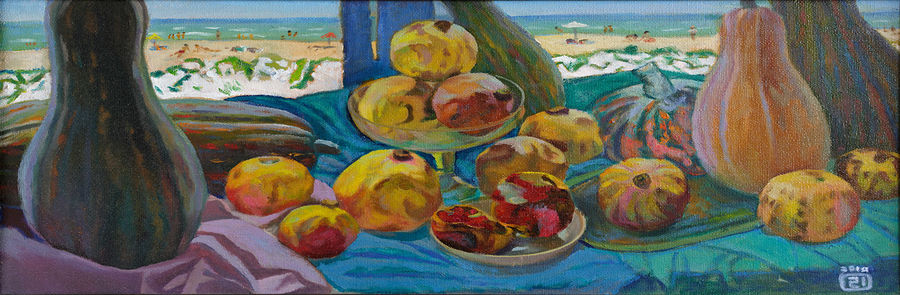 pumpkins and pomegranates, 36 x 16 inch, moesey li,still life paintings,paintings for dining room,paintings,canvas,oil paint,36x16inch,GAL07181892