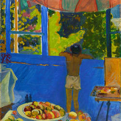 summer in namangan, 17 x 26 inch, moesey li,paintings for dining room,figurative paintings,canvas,oil paint,17x26inch,GAL07181893