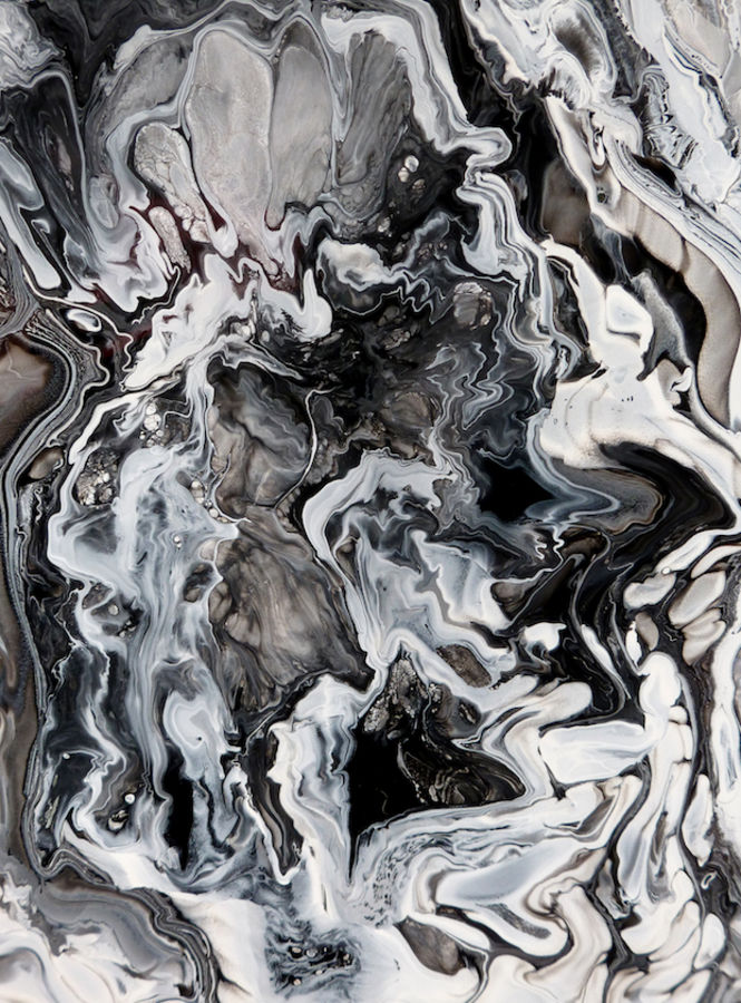 White shade with black abstract