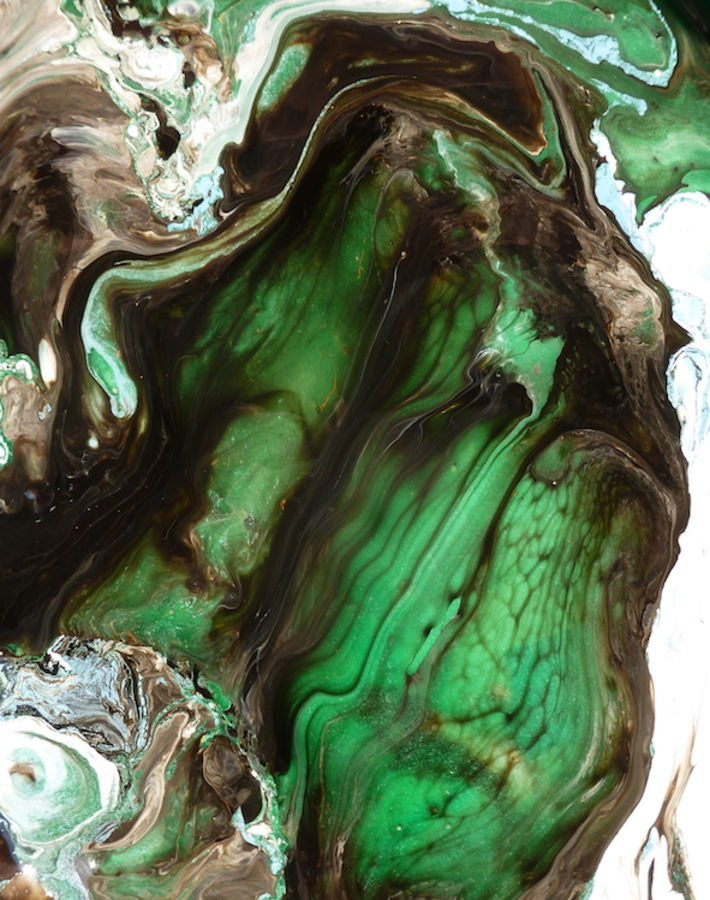 Glossy green with deep brown
