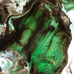 Glossy green with deep brown art print by Gallerist