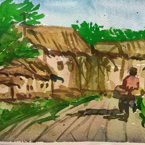 a village scene, 8 x 12 inch, divya bhagat,paintings,landscape paintings,paintings for dining room,paintings for living room,paintings for bedroom,paintings for office,paintings for bathroom,paintings for kids room,paintings for hotel,paintings for kitchen,paintings for school,paintings for hospital,handmade paper,watercolor,8x12inch,GAL0610318968