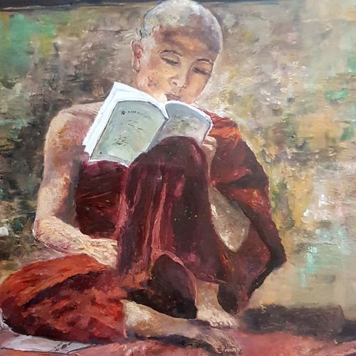 the monk, 13 x 15 inch, neelam panwar,paintings,figurative paintings,paintings for living room,thick paper,acrylic color,13x15inch,GAL0843718977