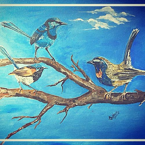 birds, 20 x 16 inch, subhash gijare,paintings,wildlife paintings,animal paintings,paintings for dining room,paintings for living room,paintings for bedroom,paintings for office,paintings for bathroom,paintings for kids room,paintings for hotel,paintings for kitchen,paintings for school,paintings for hospital,canvas,acrylic color,oil,20x16inch,GAL013818984