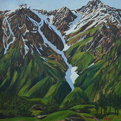 snow-clad mountains of himalayas, 33 x 40 inch, ajay harit,paintings,landscape paintings,nature paintings,realism paintings,paintings for dining room,paintings for living room,paintings for bedroom,paintings for office,paintings for hotel,paintings for school,paintings for hospital,canvas,oil,33x40inch,GAL0199818991Nature,environment,Beauty,scenery,greenery