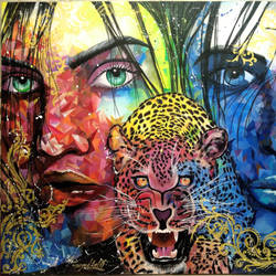 face with leopard , 49 x 37 inch, aatif sayed,paintings,figurative paintings,modern art paintings,art deco paintings,portraiture,paintings for living room,paintings for hotel,canvas,acrylic color,49x37inch,GAL0929318992