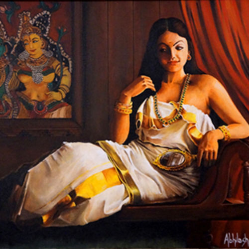 lady with valkannadi - acrylic painting in a traditional look, 24 x 36 inch, abhilash  vijayakumar ,paintings for hospital,paintings for living room,figurative paintings,conceptual paintings,canvas,acrylic color,24x36inch,GAL0930119005