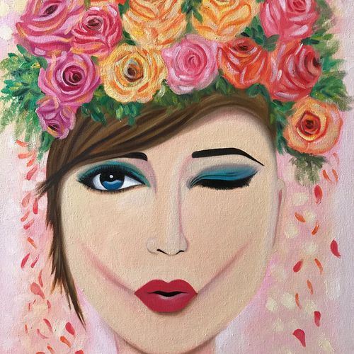 wink girl with flowers !!, 18 x 24 inch, amita dand,paintings,portrait paintings,paintings for dining room,paintings for living room,paintings for bedroom,paintings for hotel,canvas board,oil,18x24inch,GAL0146719022