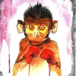 monkey boxing , 8 x 12 inch, augur art gallery,paintings for living room,paintings for office,paintings for kids room,paintings for living room,paintings for office,paintings for kids room,figurative paintings,animal paintings,canson paper,watercolor,8x12inch,GAL0935819025