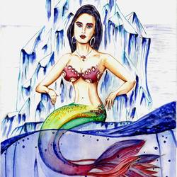 mermaid-sea queen , 12 x 17 inch, augur art gallery,paintings,love paintings,paintings for living room,canson paper,watercolor,12x17inch,GAL0935819027