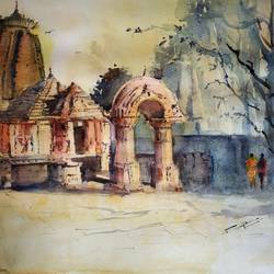 mukteshwar , 15 x 12 inch, sujit  raut,paintings,landscape paintings,paintings for dining room,paintings for living room,paintings for office,fabriano sheet,watercolor,15x12inch,GAL0936419037