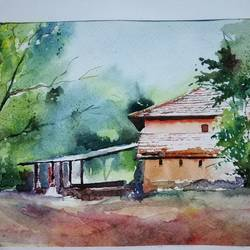 konkan house, 11 x 8 inch, sujit  raut,paintings,landscape paintings,paintings for living room,paintings for living room,brustro watercolor paper,watercolor,11x8inch,GAL0936419040