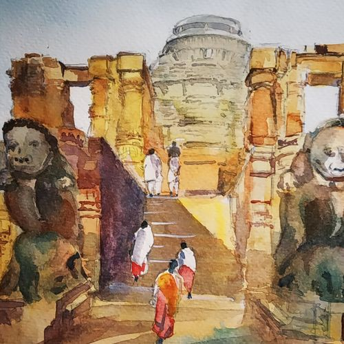 konark sun temple, 11 x 8 inch, sujit  raut,paintings,landscape paintings,paintings for living room,paintings for hotel,brustro watercolor paper,watercolor,11x8inch,GAL0936419041