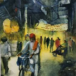 streets of punjab, 5 x 8 inch, sujit  raut,paintings,cityscape paintings,street art,paintings for living room,paintings for office,paintings for hotel,brustro watercolor paper,watercolor,5x8inch,GAL0936419042