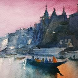varanasi, 5 x 8 inch, sujit  raut,paintings,landscape paintings,paintings for living room,paintings for bedroom,paintings for office,paintings for hotel,brustro watercolor paper,watercolor,5x8inch,GAL0936419043