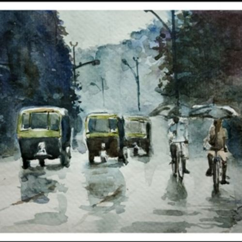 city in rain, 8 x 5 inch, sujit  raut,paintings,street art,paintings for living room,paintings for office,paintings for hotel,paintings for living room,paintings for office,paintings for hotel,brustro watercolor paper,watercolor,8x5inch,GAL0936419044