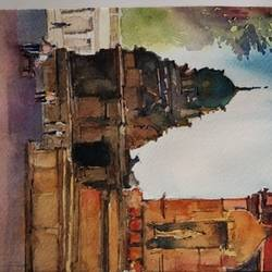 brihadeshwara temple, 5 x 8 inch, sujit  raut,paintings,landscape paintings,paintings for living room,paintings for bedroom,paintings for office,paintings for hotel,brustro watercolor paper,watercolor,5x8inch,GAL0936419045