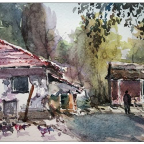 village, 8 x 5 inch, sujit  raut,paintings,landscape paintings,paintings for dining room,paintings for living room,paintings for office,brustro watercolor paper,watercolor,8x5inch,GAL0936419046