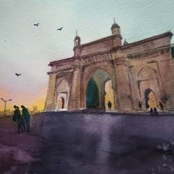 gateway of india, 11 x 8 inch, sujit  raut,paintings,cityscape paintings,paintings for dining room,paintings for living room,paintings for office,paintings for hotel,paintings for dining room,paintings for living room,paintings for office,paintings for hotel,brustro watercolor paper,watercolor,11x8inch,GAL0936419047