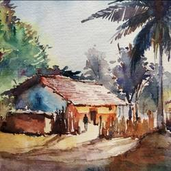 indian village, 11 x 8 inch, sujit  raut,paintings,landscape paintings,paintings for living room,paintings for office,paintings for hotel,paintings for school,brustro watercolor paper,watercolor,11x8inch,GAL0936419048