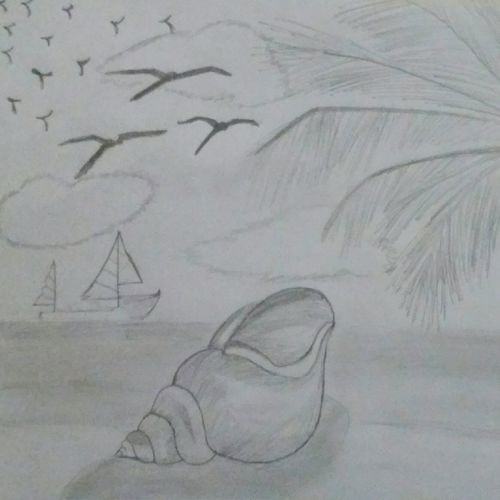 beautiful drawing of the sea and its shore 1935 x 1335 inch by sreelekha gollu,1935x1335inch,GAL0735819051