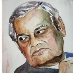 vaajpayee ji, 8 x 11 inch, sujit  raut,paintings,figurative paintings,paintings for living room,paintings for office,paintings for school,brustro watercolor paper,watercolor,8x11inch,GAL0936419055