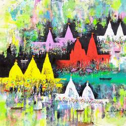 spiritual celebration , 24 x 22 inch, sandeep rawal ,abstract paintings,cityscape paintings,landscape paintings,religious paintings,lord shiva paintings,paintings for dining room,paintings for living room,paintings for bedroom,paintings for office,paintings for kids room,paintings for hotel,paintings for kitchen,paintings for school,paintings for hospital,canvas,acrylic color,24x22inch,GAL0251119057