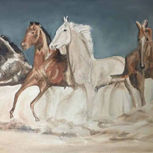 four hoeses, 24 x 16 inch, amit kumar sinha,paintings,wildlife paintings,horse paintings,paintings for dining room,paintings for living room,paintings for bedroom,paintings for office,paintings for kids room,paintings for hotel,paintings for kitchen,paintings for school,canvas,oil,24x16inch,GAL0691319058