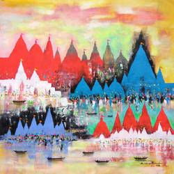 holy journey, 25 x 25 inch, sandeep rawal ,abstract paintings,cityscape paintings,landscape paintings,religious paintings,contemporary paintings,paintings for dining room,paintings for living room,paintings for bedroom,paintings for office,paintings for kids room,paintings for hotel,paintings for kitchen,paintings for school,paintings for hospital,canvas,acrylic color,25x25inch,GAL0251119059