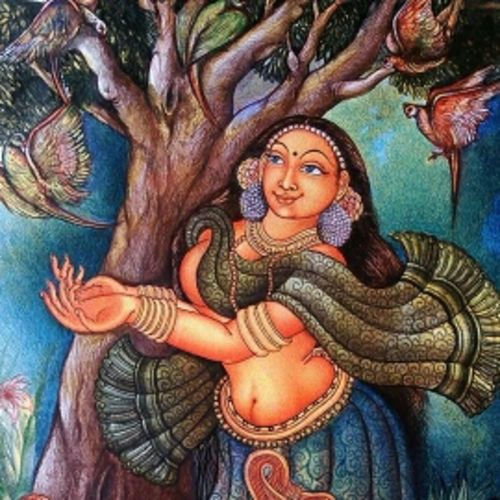lady with parrot, 20 x 60 inch, manoj  p p,figurative paintings,paintings for living room,canvas,acrylic color,20x60inch,GAL07481906