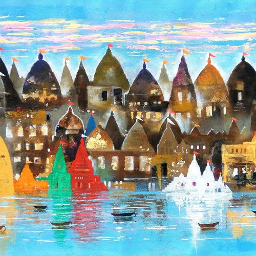 city of salvation 1, 36 x 18 inch, sandeep rawal ,abstract paintings,cityscape paintings,landscape paintings,contemporary paintings,lord shiva paintings,paintings for dining room,paintings for living room,paintings for office,paintings for kids room,paintings for hotel,paintings for school,paintings for hospital,canvas,acrylic color,36x18inch,GAL0251119061